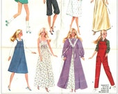 """Vintage Barbie Doll Pattern, One Shoulder Evening Gown, Knickers, Sundress, Batwing Top, Skirt - Simplicity 5637 UNCUT Fits 11.5"""" 29cm Doll"""