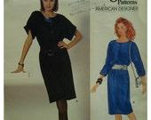 Diane Von Furstenberg 80s Pullover Dress Pattern, Loose,Straight, Button Front,Jewel Neck Vogue American Designer No.1187 UNCUT Size 8 10 12