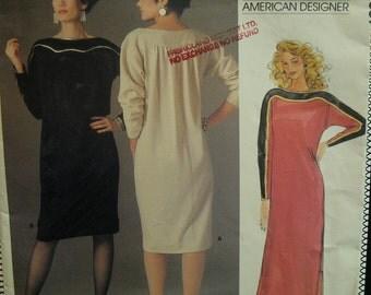 80s Geoffrey Beene Pullover Dress Pattern, Shoulder Yoke, Straight Cut, Long Sleeves - Vogue American Designer No.1389 UNCUT Size 14