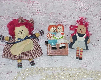 3 Old Vintage Raggedy Ann & Andy Dolls