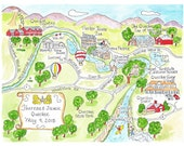 Custom Map, Hand Drawn Watercolor map with 12 illustrations