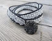 Skinny Triple Wrap Friendship Bracelet  Czech Glass Jewelry Crystal Clear Bohemian Hippie Boho Chic Faux Pave