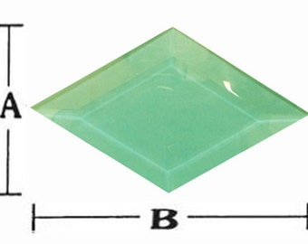 Stained Glass 1 3/4 x 3 green diamond bevels pack of 6