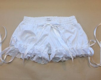 NEW- Mid-Rise White Cotton Muslin Bloomers - Made to Order