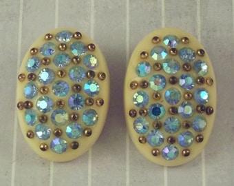 Vintage Celluloid Blue Aurora Rhinestone Clip On Earrings Cream Celluloid Earrings Inset Rhinestones Gold Tone Studs Oval Celluloid Earrings