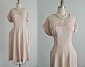 50's Linen Dress // Vintage 1960's Embroidered Linen Rhinestone Garden Party Dress XL VOLUP