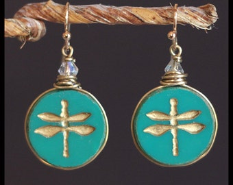 Vintage Dragonfly Teal & Gold Gilded Glass Button Earrings