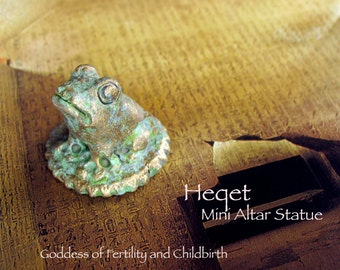 Heqet Mini Altar Statue - Ancient Egyptian Fertility Goddess - Handmade Polymer Clay Statue - Kemetic Altar Statue with Brass Patina Finish