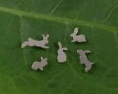 Silver Rabbit earrings: A set of 5 Bunny shaped sterling silver earrings.