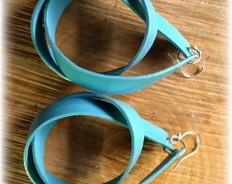 Turquoise Leather Loop Drop Earrings. Fabulous!