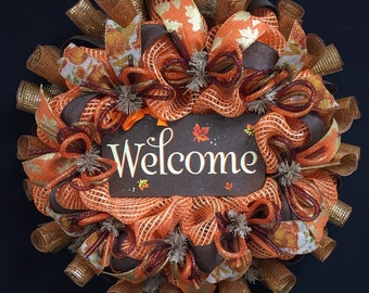 Fall Welcome Wreath, Fall Decor, Fall Door Wreath, Autumn Door Wreaths, Autumun Decor