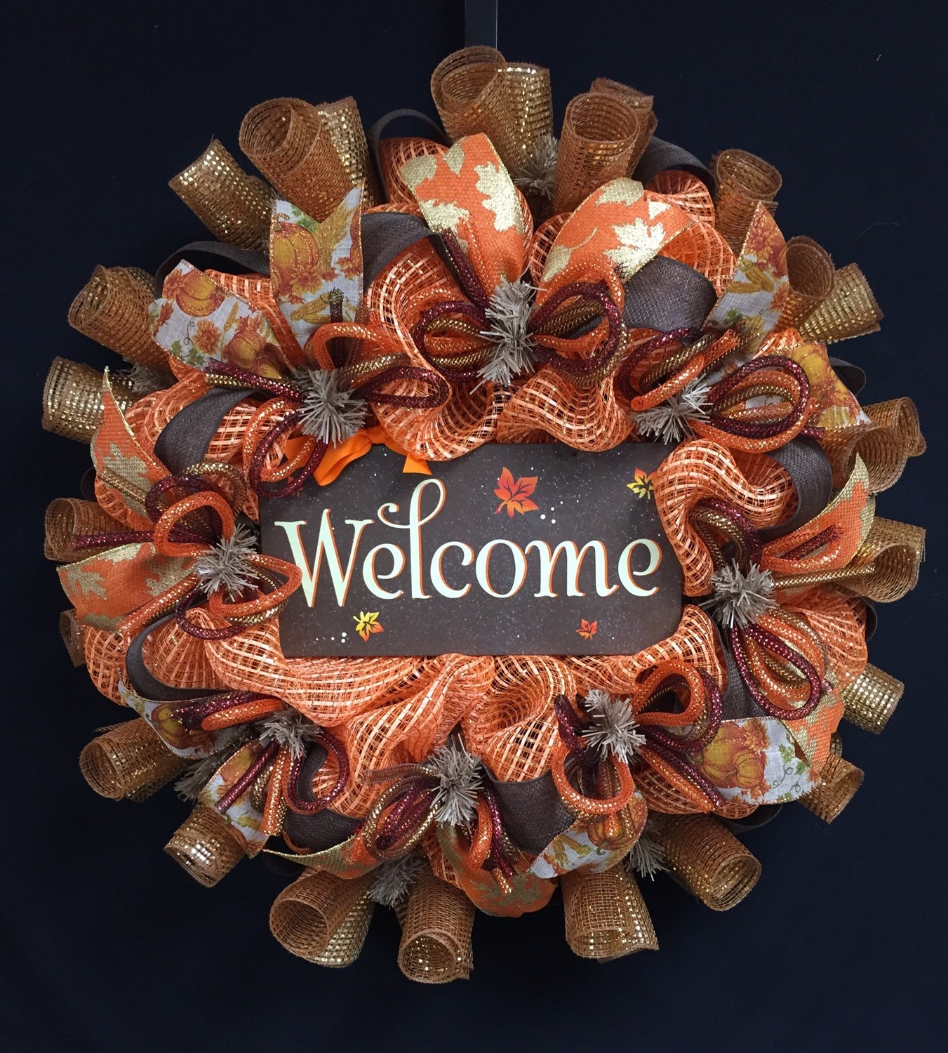 Welcome Guests With Fall Door Decorations: Fall Welcome Wreath Fall Decor Fall Door Wreath By