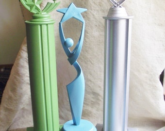 Trophy Set Silver Glitter Green Turquoise painted award home wedding decoration photo prop office grooms table college high school honor win