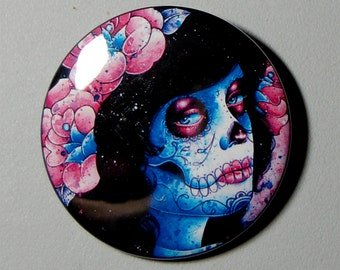 2.25 inch Pin Back Button - Could It Really Be - Day of the Dead Sugar Skull Girl Calavera Colorful Tattooed Pin Up Tattoo Art Pin