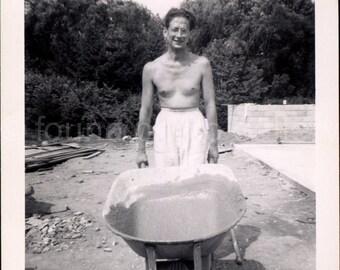 Vintage Photo, Shirtless Man With Wheelbarrow, Black & White Photo, Found Photo, Old Photo, Construction, Man Working