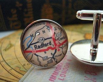 "Custom Map Cuff Links, Radford University  Virginia 3/4"" 20mm Mens Jewelry Gift Ideas Groomsmen Cuff Links Mens World Travel"
