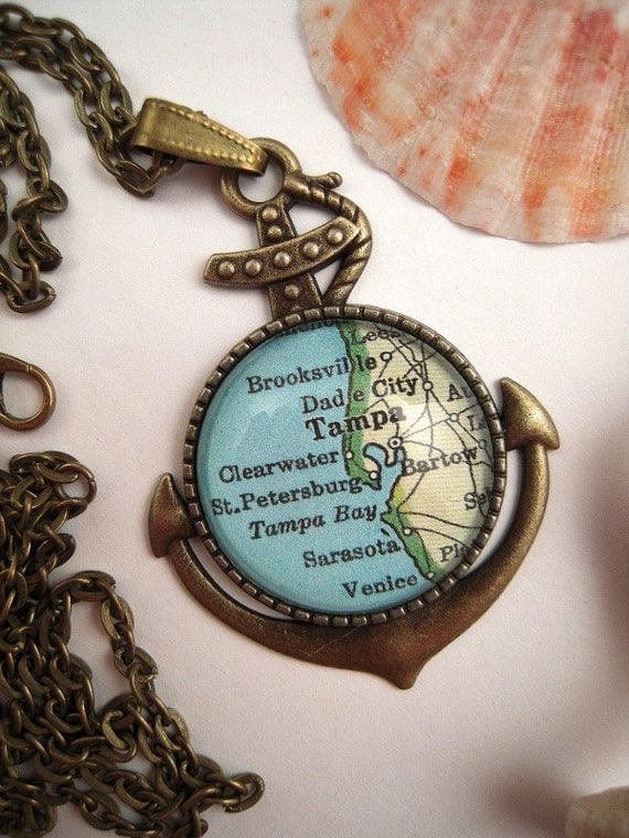 custom map jewelry tampa clearwater florida vintage map