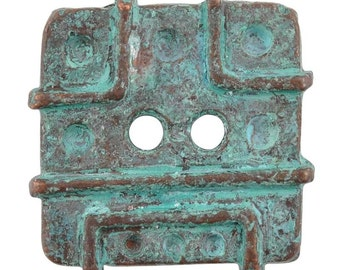 Buttons-21mm Square Casting-Green Patina-Quantity 1
