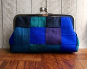 Peacock wedding, multi colored clutch, peacock clutch purse, silk clutch bag in frame, blue, teal, purple