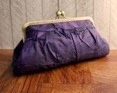 Purple evening bag, kisslock purse, taffeta purple clutch purse, framed clutch, pleated clutch, tufted taffeta