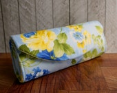 Blue and yellow floral clutch purse, Cotton clutch bag, light blue clutch, gift for her