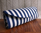 Wide blue and white striped nautical clutch bag. Navy blue clutch, nautical wedding.
