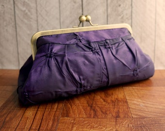 Purple evening bag, kisslock purse, taffeta purple clutch purse, framed clutch, pleated clutch, tufted taffeta