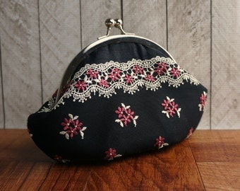 Clearance. Personalized bag, black wristlet, wrist strap, black clutch purse, round frame, black silk clutch with pink flower and ivory lace