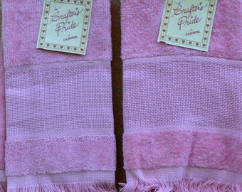 Pair of Rose Velour Guest Towels - Fringed Edges - Crafters Pride by Cannon  - 100% Cotton - 14 Ct. Aida Insert