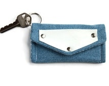 Denim Keychain Wallet with Blue Leather Accent, Cardholder Key Ring, Dorm Room Keychain, Student ID Holder