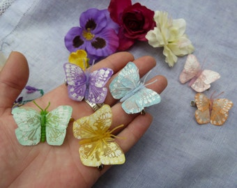 Tiny feather butterfly hairclips - pastel shades - wedding hair - set of 6