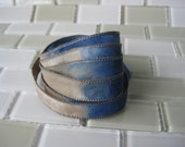 Hand Dyed Painted Habotai - Silk Wrap Bracelet - denim taupe - Fairy Ribbon, DIY wrap bracelet, Silk Bracelet, Ribbon Wrap, Ribbon