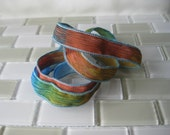 """Hand Painted Crinkle Silk Wrap Bracelet - Cyan Blue, Amber and Brass - 1/2"""" Fairy Ribbon"""