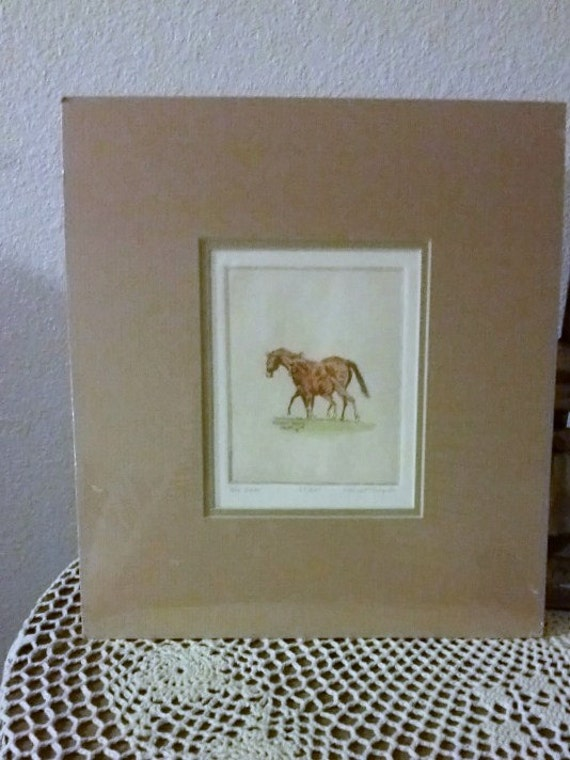 Signed/numbered Phleat Boyd Horse Etching  1982 horse equine art Oklahoma artist