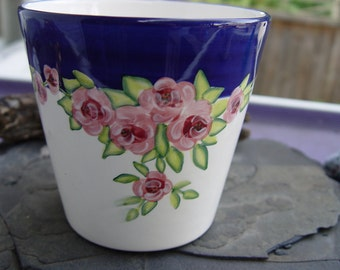 Napco Ceramic Planter Flower Pot with Blue Rim and Pink Rose Flowers