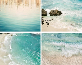"Beach Print Set, Aqua Wall Art, Blue Teal Cream, Coastal Photography, Beach Decor, Coastal Photography, Gallery Wall ""Aqua Print Set"""