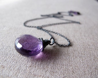 Plump Faceted Amethyst Rustic Necklace AAAA Grade