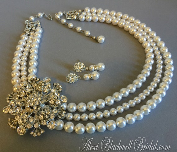 Pearl Bridal Necklace Set Brooch Necklace with Rhinestone broach 3 strands of Swarovski pearls choice of color wedding jewelry sets bridal