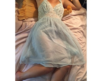 Vintage Pale Pastel Blue Sheer Lace Slip size 36