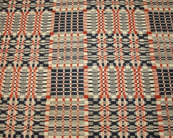 Brick Red, Indigo Blue and Ecru 19th Century Antique Linsey Woolsey Overshot Coverlet Piece - 25 x 20 Inches