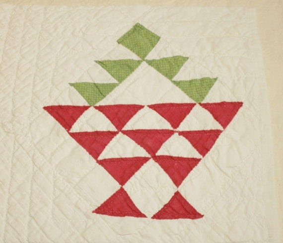 Red And Green Flower Basket Antique 1800s Cutter Quilt Piece