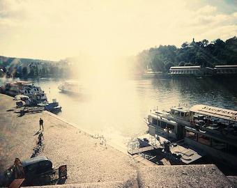 Czech Photography, Prague, Vltava, Europe, Fine Art Print, 8x12, sunny lens flare shimmering river