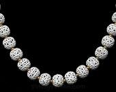 White Filigree Necklace - 60s Cage Style Enamel Beads - Spring & Summer - 1960s Secretary Chic - Nice Quality - Monet - 44278