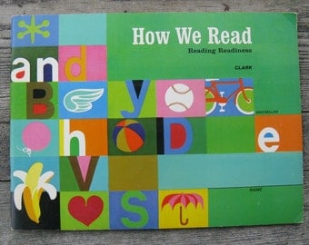 how we read reading readiness book macmillian 1970 soft cover mid century primer multi racial