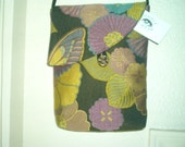 purple green floral tapestry fabric shoulder purse- size Large