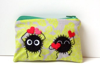 Soot sprite (kurosuke) pouch / coin purse, wallet from my neighbor totoro / spirited away collecting hearts