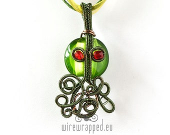 OOAK Cthulhu green wire wrapped pendant