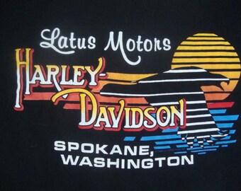 Vintage Harley Davidson Motorcycles Latus Motors Spokane Washington Pocket T shirt L