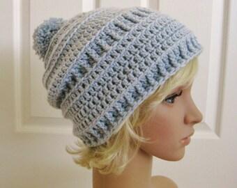 Crochet Slouch Beanie Hat-Ice Blue- Crochet Hat-Light Blue Beanie-Slouch Hat-Crochet Beanie with Pom Pom