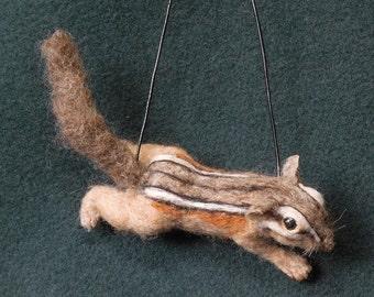 Needle Felted Chipmunk Shoulder Pet on Necklace